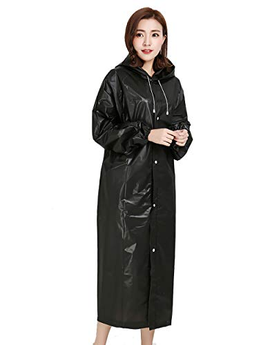 YJJY Dames Transparante Hooded Regenjas EVA Noodgeval Lichtgewicht Lange Regenkleding Mode Outdoor Camping/reizen/bergbeklimmen, Zwart