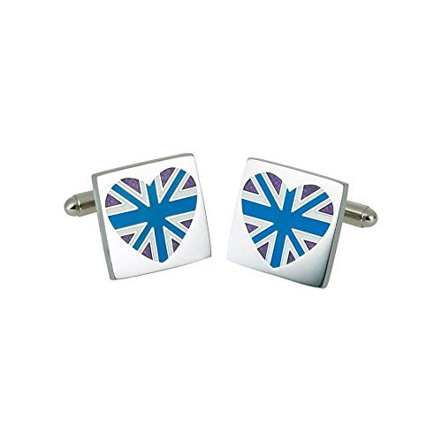 Sonia Spencer - Boutons De Manchette, Blue Union Jack Heart, GB Collection