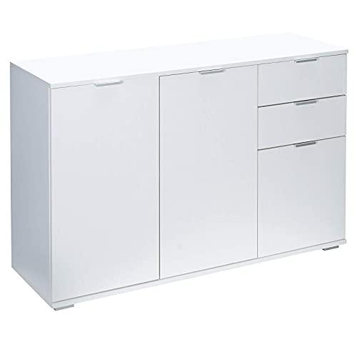 Deuba Kommode Alba mit 3 Türen 2 Schubladen 107x74x35 cm Modern Flur Wohnzimmer Sideboard Anrichte Mehrzweckschrank Weiß