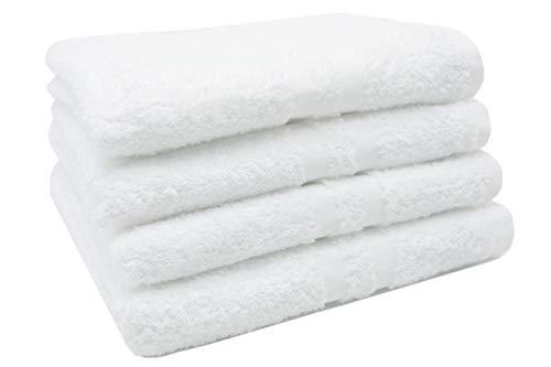 ZOLLNER 4 Toallas de Lavabo Blancas Grandes, algodón, 50x100 cm