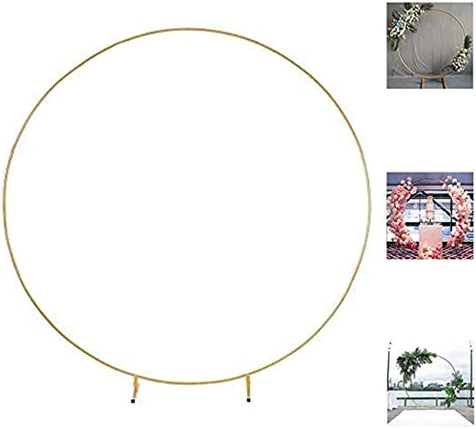 Wedding Arch Props Round Ring Iron Wedding Decorative Backdrop Circle Arch Lawn Silk Artificial Flower Row Stand Wall Shelf for Birthday Party 2m/Golden