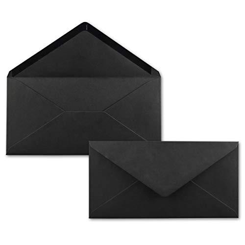 25 Brief-Umschläge Schwarz DIN Lang - 110 x 220 mm (11 x 22 cm) - Nassklebung ohne Fenster - Ideal für Einladungs-Karten - Serie FarbenFroh