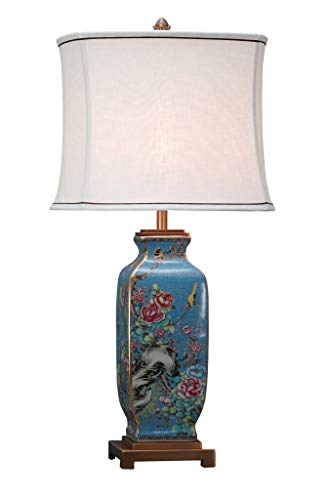 Fine Asianliving Lámpara de mesa de Cerámica China Oriental con pantalla Jingdezhen porcelana E27 Oriental Mandarin Deco - 221-148