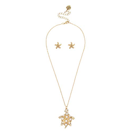 Betsey Johnson Turtle Pendant Necklace & Starfish Stud Earrings Set