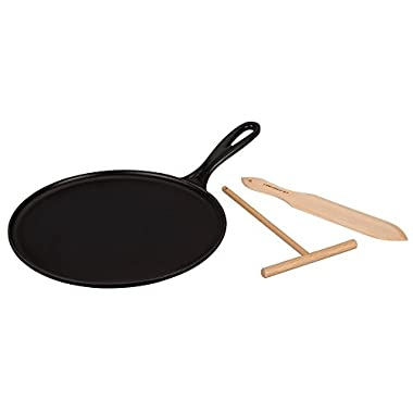 Le Creuset L2036-2720 Enameled Cast Iron Crepe Pan with Rateau and Spatula Matte, 10.75 , Black