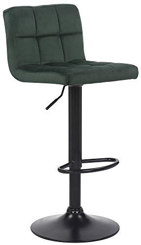 CLP Barhocker Feni Samt | Höhenverstellbarer Thekenhocker Mit Fußstütze Und Lehne | Barstuhl Mit Metallgestell, Farbe:grün