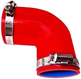 TOYOKING ホースバンド付き ハイテク シリコンホース エルボ 90度 同径 内径Φ19mm 赤色 ロゴマーク無し インタークーラー ターボ インテーク ラジェーター ライン パイピング 接続ホース 汎用品