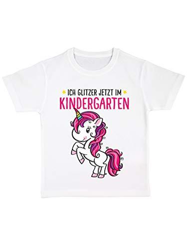 clothinx Kinder T-Shirt Bio Kindergartenstart Ich Glitzer Jetzt im Kindergarten Weiß/Pink Größe 116