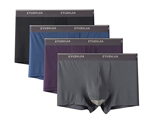 EYUSHIJIA Men's 4 Pack Underwear Bamboo Fiber Separate Pouches Boxer Briefs with Fly (Medium, J)