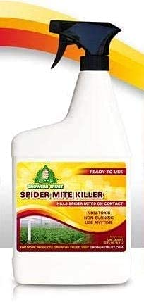 Growers Trust Spider Mite Killer Non-Toxic, Biodegradable - Natural Pesticide-Organic Ingredients- Earth Friendly Pest Control-(Solution Makes 32 oz Ready to use Foliar Spray) JUST ADD Water