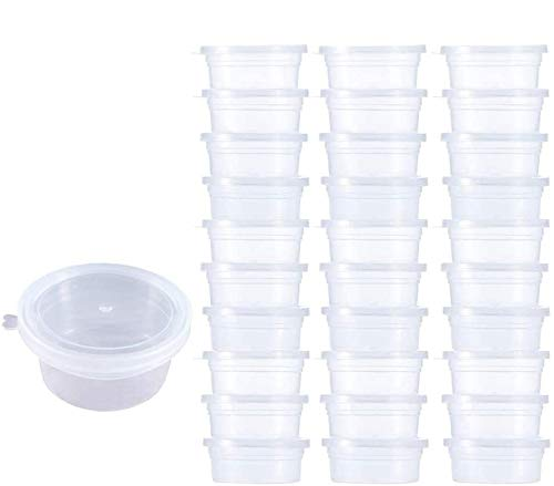 Homo Trends - Contenitori in plastica per slime, a prova di perdite, 30 pezzi, con coperchio a sfera in schiuma