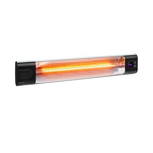 blumfeldt Silver Bar 3000 Infrarotheizung, 3 Leistungsstufen: 1000/2000/3000 Watt, Carbon-Heizelement, IR ComfortHeat, Timer: 1-24 Stunden, Wandmontage, Schutzart: IP34, schwarz