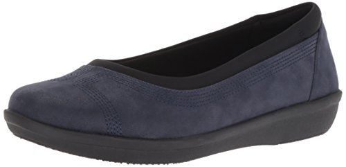 Clarks Womens Ayla Low Ballet Flat, Navy Synthetic Nubuck, 7 M US