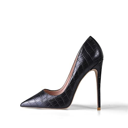 GENSHUO Zapatos de Tacón Mujer Sexy Zapato Stiletto 12 CM Elegante Novia Fiesta High Heels,Negro Talla 37 EU