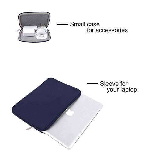 MOSISO Laptop Sleeve Kompatibel mit MacBook Air 13 A2337 A2179 A1932 2018-2020,MacBook Pro 13 A2338 A2251 A2289 A2159 A1989 A1706 A1708,Wasserabweisend Neopren Tasche mit Klein Fall,Navy Blau