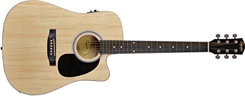 Fender 0930307006SA-105CE Dreadnought-Cutaway E-Gitarre–Schwarz Volle Größe natur