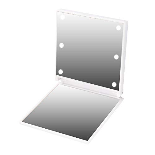 Espejo de maquillaje con luz LED, 6 LED Espejo compacto iluminado de mano Espejo cosmético plegable portátil con batería portátil con luz para mujeres y niñas(1#)