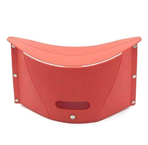 Taburete retráctil plegable Superhard de alta carga para acampar al aire libre, silla portátil para playa, senderismo, picnic, asiento de pesca, silla 19 x 31 x 13 (color: naranja) ZZ666 (color: rojo)