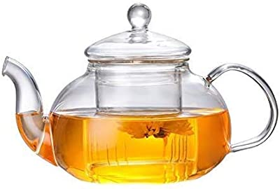 HKKAIS 20.2 Ounce / 600 ML Glass Teapot with Removable Infuser, Stovetop Safe Tea Kettle, Blooming and Loose Leaf Tea Maker Set (600ml)