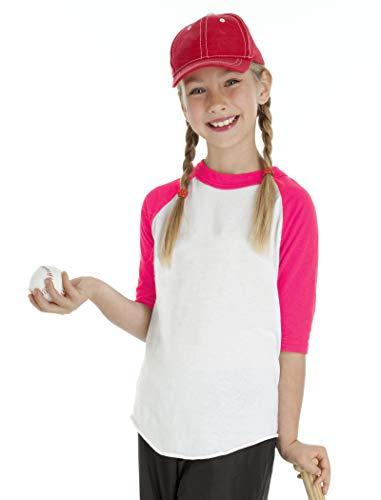 Youper Kids Baseball Jerseys, Youth 100% Cotton 3/4 Sleeves Raglan T Shirts (Pink - 1 Pack, Small)