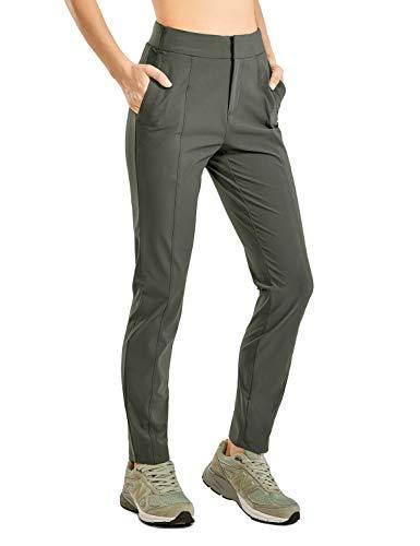 CRZ YOGA Damen Wanderhose Leichte, Schnell Trocknende, Bequeme Freizeithose mit Elastischer Taille Laube Olive 42