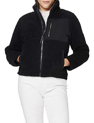 Superdry Womens Storm Panel Borg Zip Through Cardigan Sweater, Black, L (Herstellergröße:14)