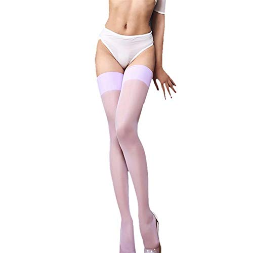8 Colors Sexy Red Blue Pink Green Thigh High Stockings Women Solid Color Over Knee Long Thin Stockings without Pants (Color : Lavender, Size : One Size)