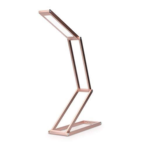 kwmobile Rechargeable LED Folding Desk Lamp - Dimmable Portable Aluminium Table Light for Home, Reading, Studying, Travel with Micro USB - Rose Gold