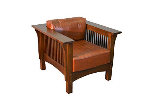 Crafters & Weavers Mission Crofter Style Oak and Leather Arm Chair/Craftsman Sofa Chair