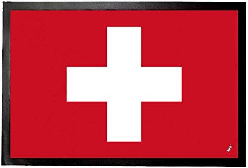 1art1 Schweiz - Flaggen Der Welt Fußmatte Innenbereich & Außenbereich | Design Türmatte 60 x 40 cm