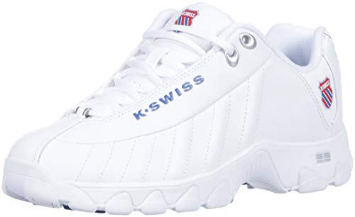 K-Swiss Women's ST329 Heritage Sneaker, white/classic blue/ribbon red, 5 M US