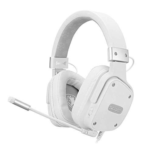 SADES Gaming- Headset für PS4, Snowwolf, kabelgebundene Over-Ear-Gaming-Kopfhörer mit Stereo-Sound, 3,5 mm Klinke, abnehmenbares Mikrofon und Lautstärkeregelung, für PC, Tablet, Laptop