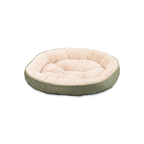 Sleep Zone Plush Checkerboard Texture Lounger, Cuddler, Napper Dog Bed - Non-Woven Bottom - 20X20 Inches/Sage/Attractive, Durable, Comfortable, Washable. by Ethical Pets