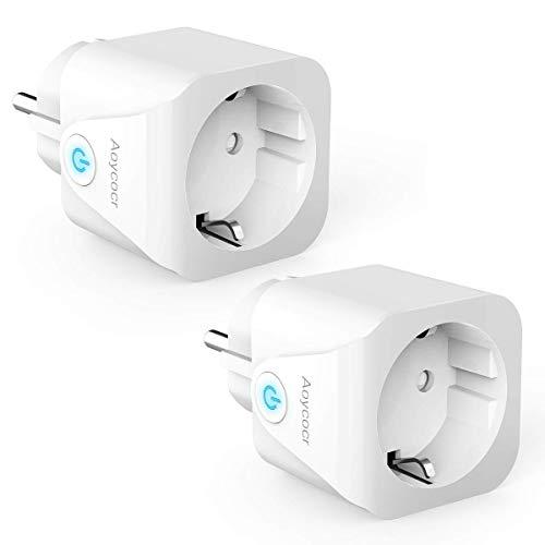 Prise intelligente Wifi, Aoycocr Alexa Prise Smart Mini Plug, 16A 3680W, Smart Home Compatible avec Alexa, Echo Dot, Google Assistant, avec télécommande, pas besoin de Hub (2PACK)