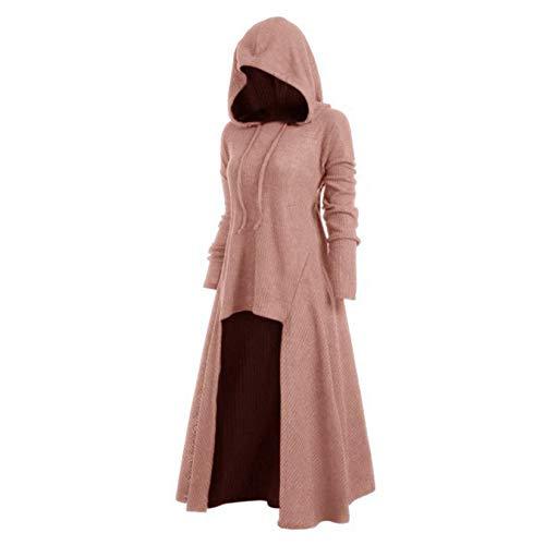 XYJD Damen Plus Size Kleid Kapuze lässig locker elastisch einfarbig Mantel