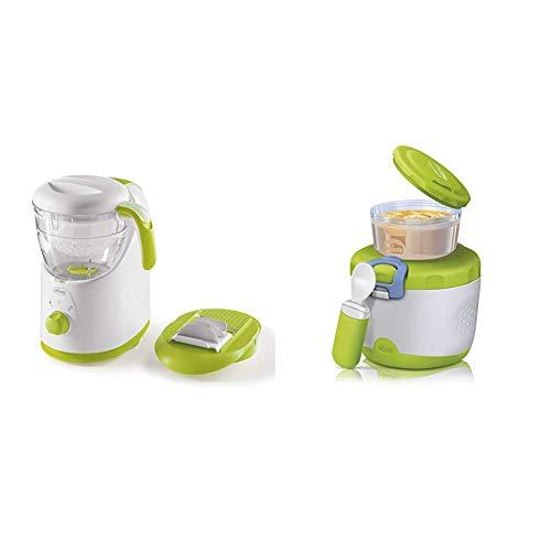 Chicco 00007656000000 Easy MealCuocipappa, Cottura a Vapore e Omogenizzatore per Pappe Sane e Veloc + Chicco00007659000000 Thermos PortaPappa System Easy Meal, 6m+, Verde