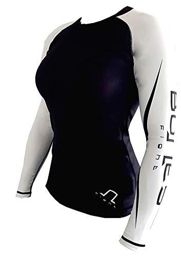 Rash Guard BJJ, Grappling, MMA, Kompressionsshirt, Longsleeve White, Unisex, Men & Woman, (XL)