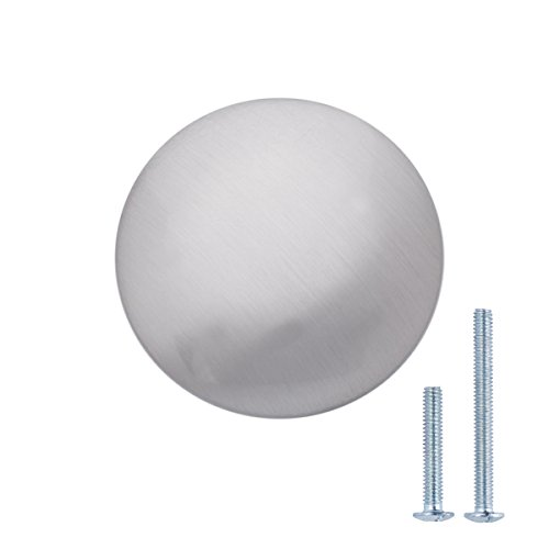 AmazonBasics - Pomolo tondo piatto per mobili, Diametro: 3,47 cm, Nichel satinato, Confezione da 25 pezzi