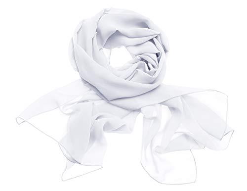 Dresstells Chiffon Schal Stola für Abendkleider in Verschiedenen Farben White 200cmX75cm/ Large