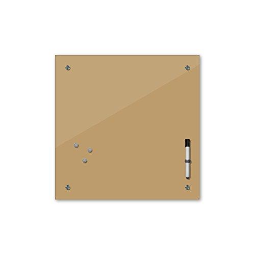 Bilderdepot24 Memoboard 40 x 40 cm, 24 Farben - braun - Hellbraun - Glas - Glasboard - Glastafel - Magnetwand - Pinnwand - Mehrzwecktafel Farbton - Grundfarbe - einfarbige Schreibtafel
