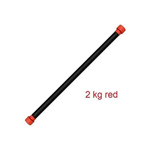 LiveUP Sports - Barra Aerobica 2 Kg Asta Peso Zavorrata Equilibrio Sollevamento Fit Training Bar-length 120cm, Red