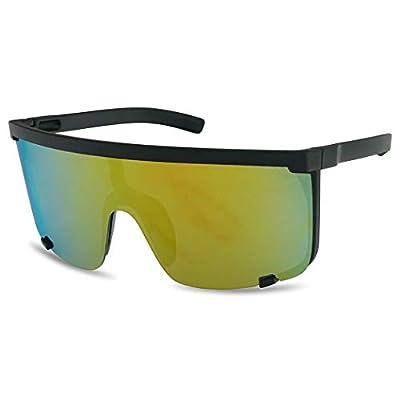 SunglassUP Oversized 150mm Super Shield Mirrored Lens Sunglasses Retro Flat Top Matte Black Frame (Matte Black Frame | Fire Red)