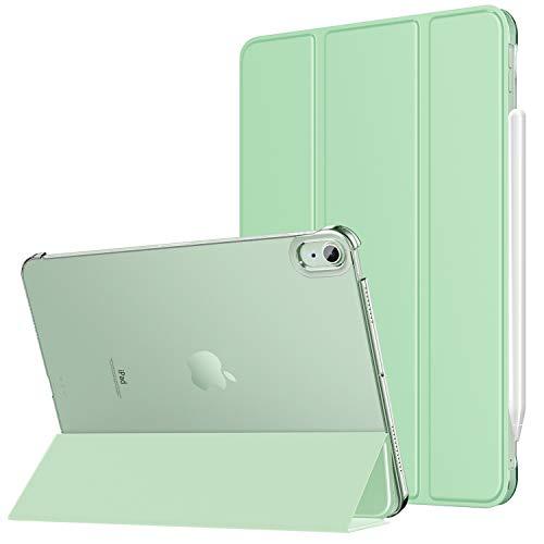 MoKo Hülle Kompatibel mit iPad Air 4. Generation 2020 iPad 10.9 Zoll2020 Tablet, [Unterstützt 2. Gen iPencil Laden] PU Leder Tasche Transluzent Rückseite Schutzhülle Auto Schlaf/Wach, Grün
