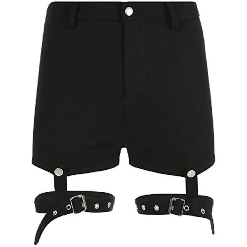 GERPY Pantalones Cortos de Mujer Casual Negro Gótico Punk Club de Club Fresco...