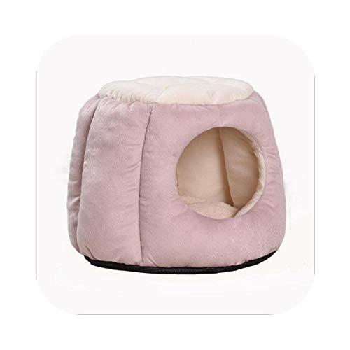 Pet Supplies - Cama plegable para perro, cojín, gato, cachorro, invierno, cálido, nido, casa con alfombra transpirable Chihuahua, gato, camas, alfombra Pink-S-35 x 40 x 32 cm