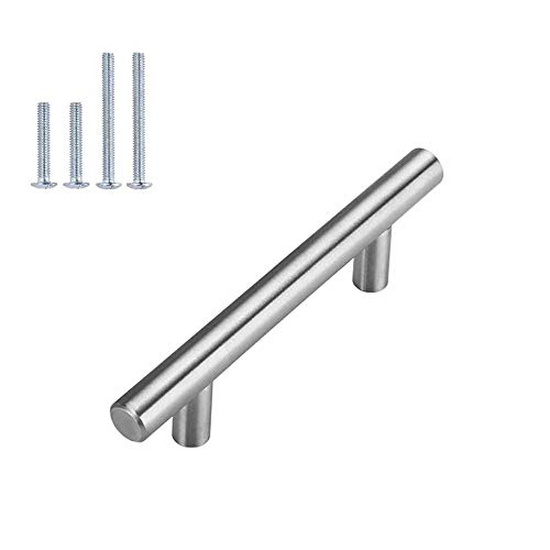 homdiy | 10 Pack 3in Hole Centers | Cabinet Handles Nickel Drawer Pulls Stainless Steel, Bar Handle Pull with Brushed Nickel Finish | Kitchen Cabinet Hardware/Dresser Drawers 201SN