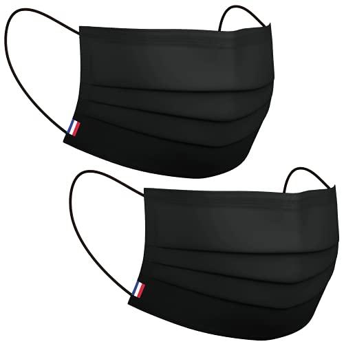 LABORATOIRE PHYTOLISE • Pack de 2 masques noir lavable norme Afnor   Fabriqué en France   Tissu   Adulte   Catégorie 1   Respirant   Homme   Femme   Réutilisable 50 fois