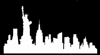 DD007 New York City Skyline Decal Sticker | 8.5-Inches By 4.4-Inches | Premium Quality White Vinyl