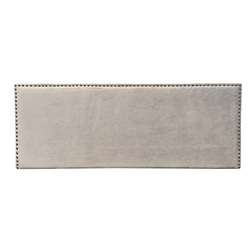 Cabecero tapizado con Tachuelas de Terciopelo Gris para Cama de 135/150 cm - LOLAhome