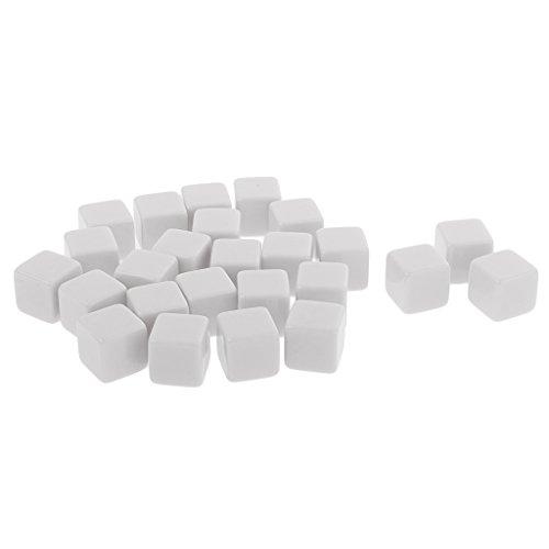 Juego de 25 dados D6 en blanco de poliedricos para fiestas, juego de mesa, color blanco